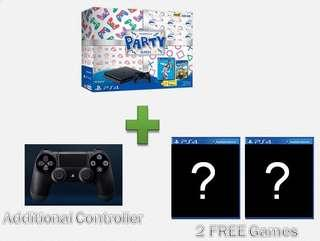 🚚 PS4 SLIM 500GB PlayStation 4 Party Bundle With Fifa 19 + Overcooked 2 + Additional Controller + 2 FREE Random Games (Brand New Set With Local 15 Months Warranty)
