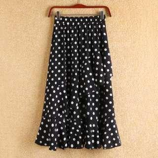 Polka ruffled skirt