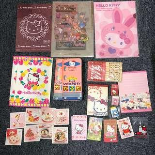 Sanrio 全圖18件$98 hello kitty file 信紙、利是封、木筷子、A4簿、memo , 擦膠、卡(有新有中古)