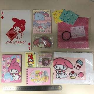 Sanrio 全圖10件$98 My Melody 毛巾、啤牌、摺紙、memo、MT Tape 紙膠帶、信紙、簿仔