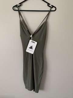 Popcherry Size M(10) Khaki Slinky Bodycon Dress