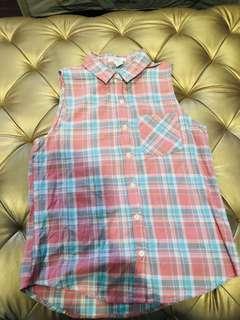 Baby pink plaid shirt