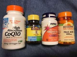 葉酸,維他命D,E,COQ10