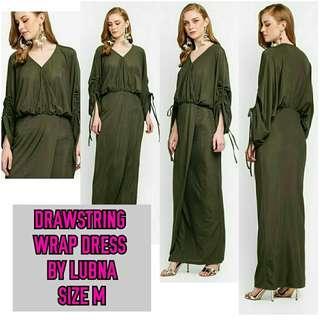 DRAWSTRING WRAP DRESS BY LUBNA