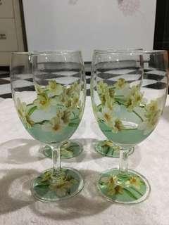 Gelas Kaca Bunga (4 Gelas)