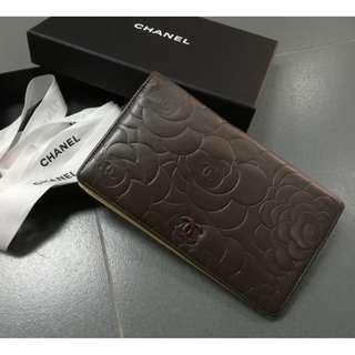 Chanel Camellia Wallet Grey Black Rare Color with Authentic card