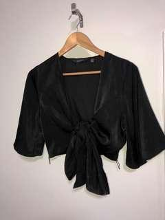 Glassons Black Wrap Top