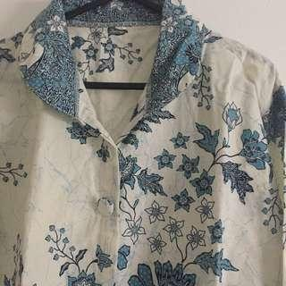 Floral Oversized Off White and Blue Batik Button Up Long Sleeve Shirt