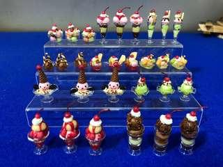 Handmade Miniature Ice cream in real glass (clay)