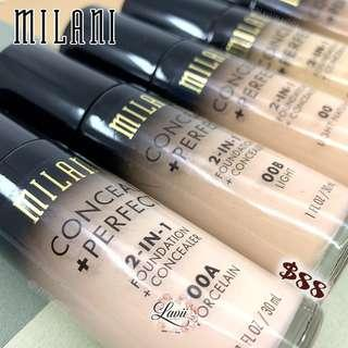 New Shades✨Milani Conceal + Perfect 2 in 1 Foundation +Concealer🇺🇸