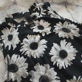 High neck printed floral top