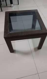 Coffee Table wooden side table with glass top