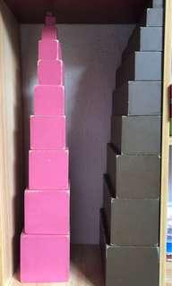 Montessori pink tower, brown stairs