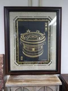 銅鼓鑲[金]畫▪純999金