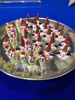 Handmade Miniature Ice Cream Glass (real Glass & Clay)