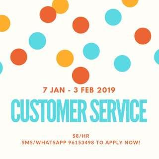 Looking for: Customer Service Assistant @ Jurong (7 January - 3 February)