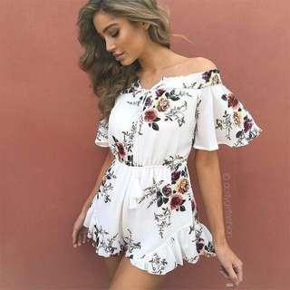 floral off shoulder ruffled tassle romper