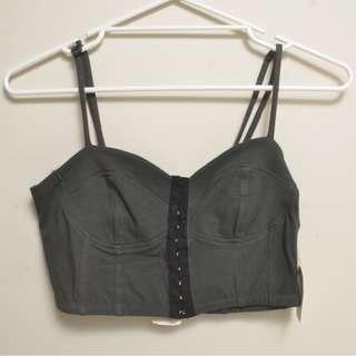 Forever 21 Knit Crop Top Bodice Olive Elastic Stretchy New With Tags Size M