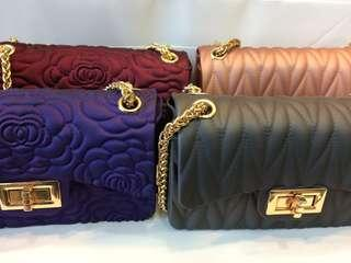 Embossed mini shoulder bag with 4 different colors