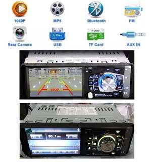 New Single DIN Radio Bluetooth USB/Card Player with Remote Steering Control