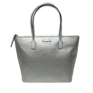 KATE SPADE Haven Lane Hani Silver Glitter Tote Bag WKRU4120