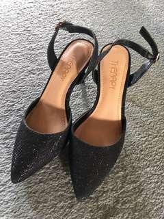Black glittery heels