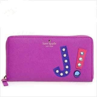"KATE SPADE New York Lacey ""j"" Hartley Lane Letter Leather Wallet Clutch PWRU5210"
