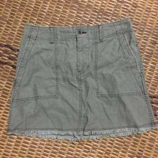 Army green short denim skirt