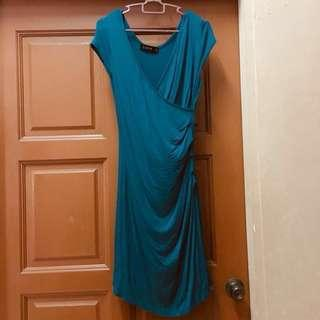 Teal blue green wrapped bodycon dress  #Payday30