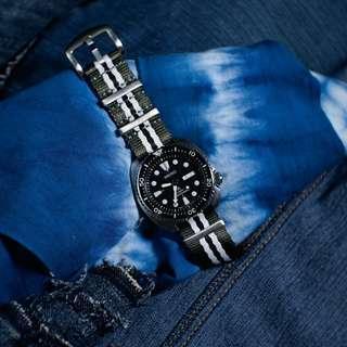 🚚 Seat Belt Nato Watch Strap In Olive White Black w Silver Buckle