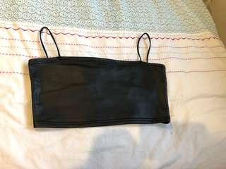 Faux leather crop