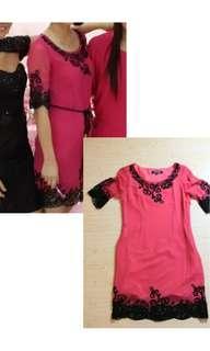 Pink lace bordir basic dress