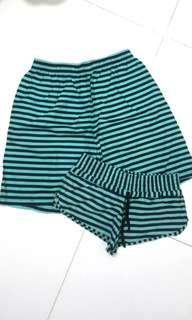 Me&You Blue Striped Couple Shorts