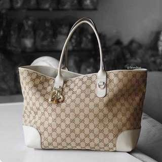 Authentic Gucci GG Canvas Heart Bit Tote Bag
