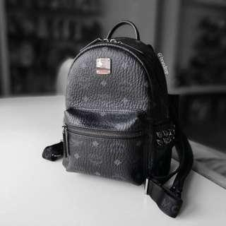 Authentic Mcm Black Stark Side Studs Backpack