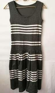 Grey and White Stripe Knit Style Dress