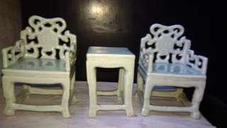 青瓷 太師椅福字款擺飾