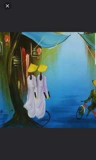 Sale 50% From $130 Vietnamese Oil Painting On Silk - Old Town Of HaNoi