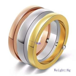 BEAUTIFUL HIGH QUALITY 3-PC SET TITANIUM RING (SILVER/GOLD/ROSE GOLD)