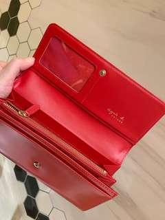 🚚 專櫃正品 agnes b 正紅色 皮夾