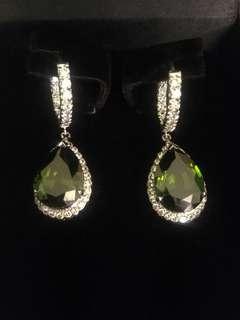 Cubic zirconia earrings with emerald stones