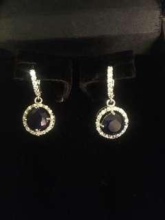 Small sapphire and cubic zirconia earrings
