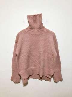 豆沙粉色高領針織毛衣上衣 落肩設計 下擺開叉 前短後長