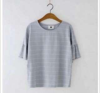 BN Blue Trumpet Sleeved Top with White Stripes