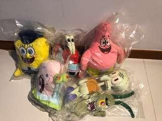 🚚 Bn sealed spongebob square pants soft toys full set original authentic