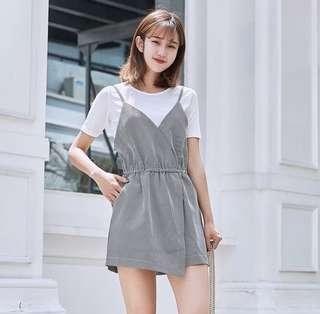 BNIP Checkered Romper with White Top