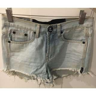 One Teaspoon Bleach Light Wash Outlaws High Waist Denim Shorts 24 6