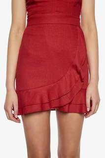 Bardot Linen Red Skirt