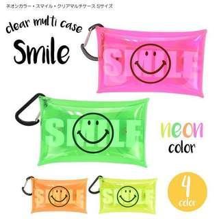 ⭕️ 29/11/2018 再上架 ⭕️ 日本直送 可愛 哈哈笑 多用途套 小物套 Smile Face PVC Clear Multi Case - 附行山扣