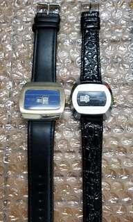 古老 70年代 瑞士 黑面及藍面 上鍊跳字手錶兩隻 Vintage Digital Swiss Made Black & Blue Dial Jump Hour Watches Very Rare (2 nos)